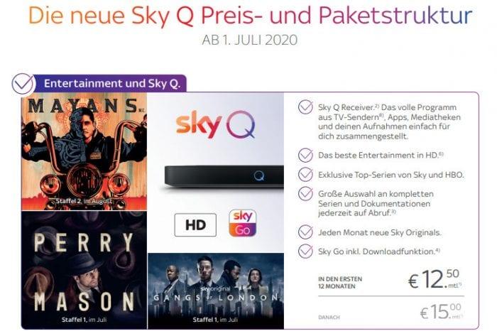Sky stellt neue Paket- und Preisstruktur vor