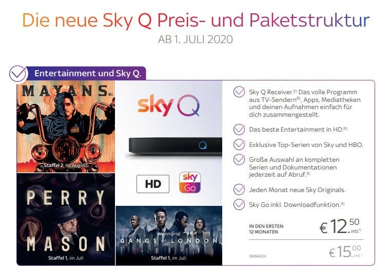 Sky Neue Preisstruktur